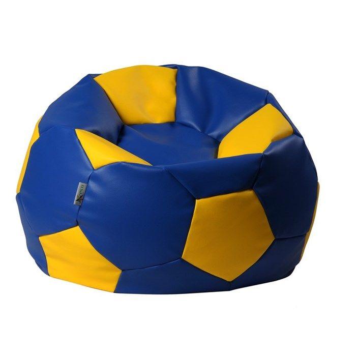 sitzsack fu ball xl 90 cm blau gelb bueromoebel. Black Bedroom Furniture Sets. Home Design Ideas